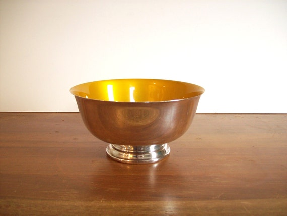 Enameled Silver Plate Bowl, Yellow, Reed and Barton