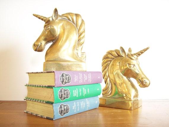 Vintage Brass Unicorn Book Ends, Dolbi Cashier, Bookends