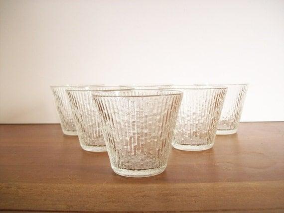 Modern Rocks Glasses, Vintage Barware, Icicle Pattern
