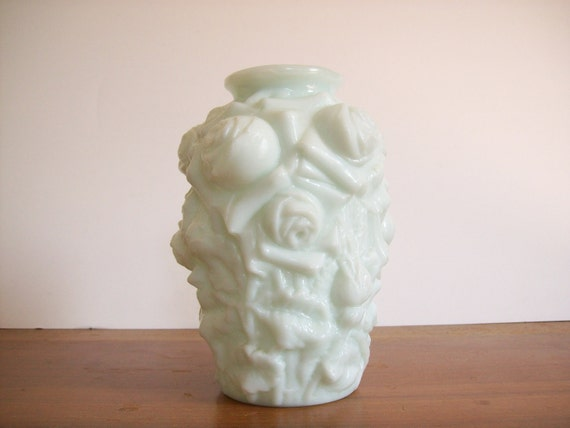 Vintage Green Goofus Glass Vase, Rose Motif