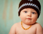 Pattern NO. 26 - Crochet Football Beanie Cap - sizes included newborn - adult