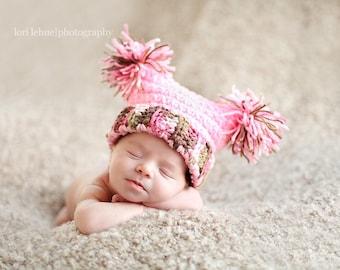 Chunky Pom Pom Jester Crochet Hat Pattern - newborn through adult