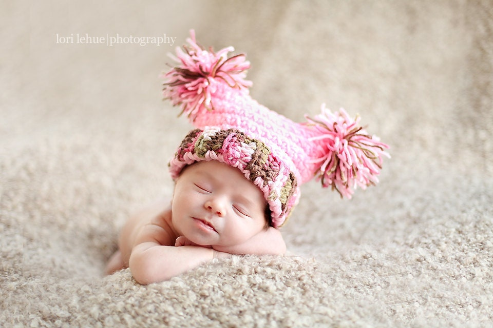 Crochet Newborn Pom Pom Hat Pattern : Chunky Pom Pom Jester Crochet Hat Pattern newborn through