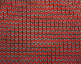 Graphic Rythms by Gerald Roy for Windham 27350-7 Red w/Squares and Ribbon
