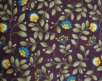 Grand Finale by Sandy Gervais for Moda 17599 17 Plum w/Yellow and Teal Flowers