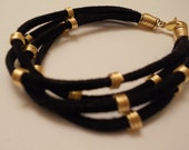 Cleopatra Black Suede and Gold Filled  Bracelet