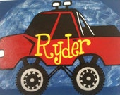 Monster Truck Canvas Name Sign