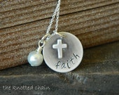 Sterling Silver Necklace with Word Faith and a Cross