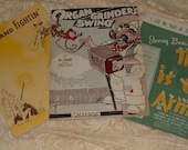 "3 Pcs.1930's - 40's Sheet Music - Feudin"" and Fightin"", This is the Army, Organ Grinder's Swing"