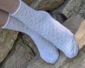 Hand knitted women fishnet Socks  wool white christmas winter