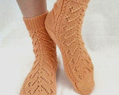 Hand knitted womens fishnet Socks Vectors peach merino wool  orange