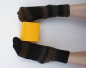 RESERVED for Stephanie  Hand knitted women's fishnet Socks Superwash wool brown