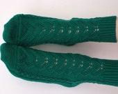 Hand knitted women's fishnet Socks  Needles merino wool green for her emerald