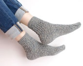 Hand knitted gray wool Socks women fishnet melange grey