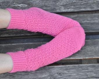 Hand Knitted women Socks pink merino wool neon for her