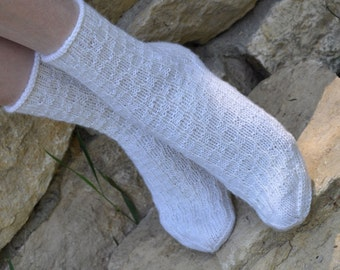 Hand knitted women fishnet Socks  wool white christmas winter