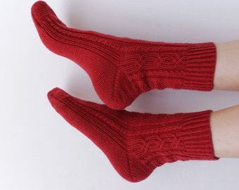 Hand knitted womens fishnet Socks Patterns with silk and cashmere  red