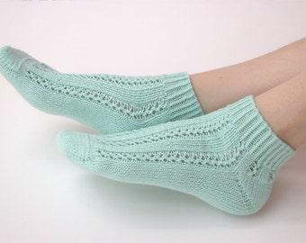 Hand knit cotton Socks women fishnet mint for her
