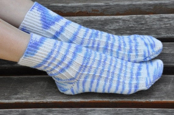 Sale Hand knitted womens fishnet Socks  wool Lines white blue sea
