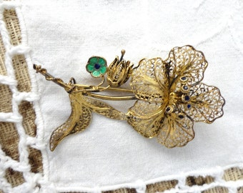 Vintage Sterling Silver Filigree Vermeil Flower Brooch - 1940's