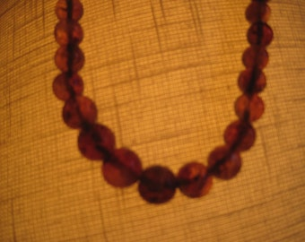 Vintage amber colored bead necklace