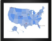 United States Map / Personalized Map in Blue - Family Is Where the Heart Is - 8x10 Art Print