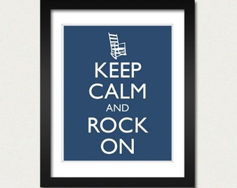 Keep Calm and Carry On - Keep Calm and Rock On - Humorous or Nursery Baby Room Poster - Multiple COLORS - 8x10 Art Print