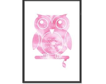 Owl Print / Owl Poster / Watercolor Owl  - 13x19 Art Print