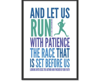 Bible Print / Scripture Poster / Christian - Let us Run with Patience The Race - 13x19 Art Print