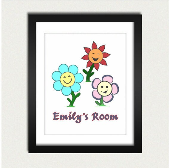 Personalized Kids Poster / Custom Name Print / Flower Power - Personalized - Kids Room - 8x10 Art Print