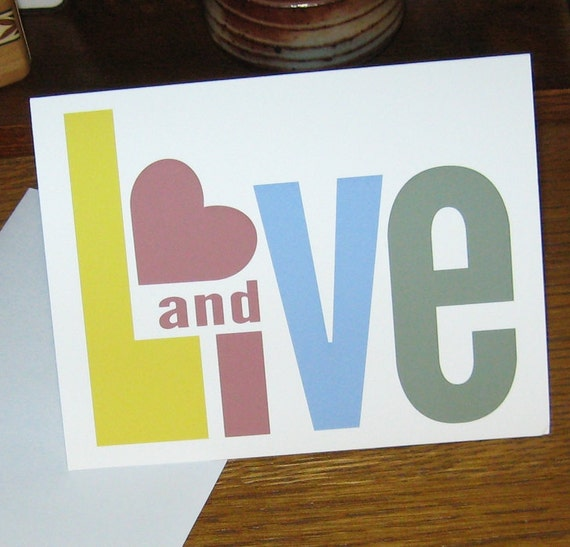 Card - Live and Love - Card with Envelope