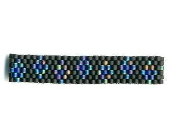 Woven Glass Bead Ring Size 1-1/4 * 16mm/o-13mm/i ... ... ... Black-Black-Blue ... ... ... ... ... ... ... 06x28 (3-1-95)