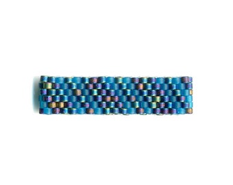 Woven Glass Bead Ring Size 7 * 20mm/o-17mm/i ... (pictured flattened) 06x36 ... ... ... ... (7-7-294)