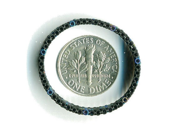 Woven Glass Bead Ring Size 13 ... ... 27mm/o-23mm/i ... ... Black-Black-Blue 06x49 ... ... ... ... (2-16-331)*