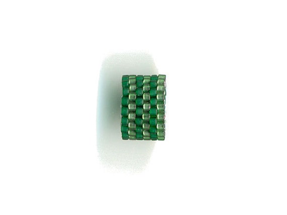 Woven Glass (Dread) Bead 14mm/o-11mm/i ... ... ...  ... Green-Green 06x24 ... ... ... ... (4-19-310)+