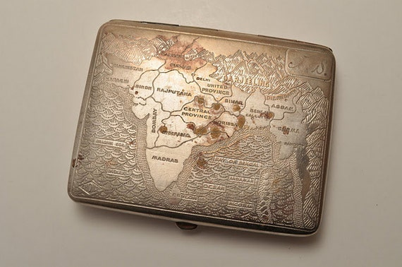 Vintage Cigarette Case with Map of India