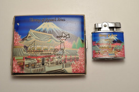 In Memory of Japan cigarette case and matching working Lighter