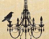 Halloween Chandelier Crow Bird Vintage Download Graphic Image Art Jpeg Transfer burlap tote tea towels Pillow Gift Tag Digital Sheet 1106