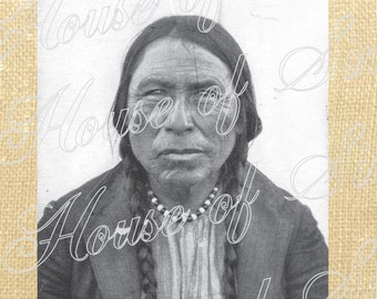 Indian Man Vintage Photo Feather Tribe Native American Download Graphic Image Transfer burlap tote towels Pillow Gift Tag Digital Sheet 1046