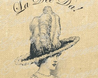 Hat Plumes Victorian Lady French feathers Download Graphic Image Transfer burlap tote towels Pillow Gift Tag Digital Sheet 1131