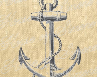 Anchor Ship Nautical Sea Vintage Download Graphic Image Art Transfer burlap tote tea towels Pillow Gift Tag Digital Sheet 1137