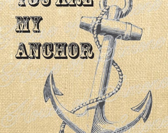 Anchor Ship Nautical Sea Vintage Download Graphic Image Art Transfer burlap tote tea towels Pillow Gift Tag Digital Sheet 1138