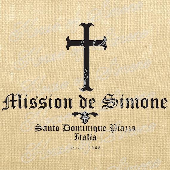 Mission Cross Religious Saint Vintage Download Graphic Image Art Transfer burlap tote tea towels Pillow Italian Gift Tag Digital Sheet 1029