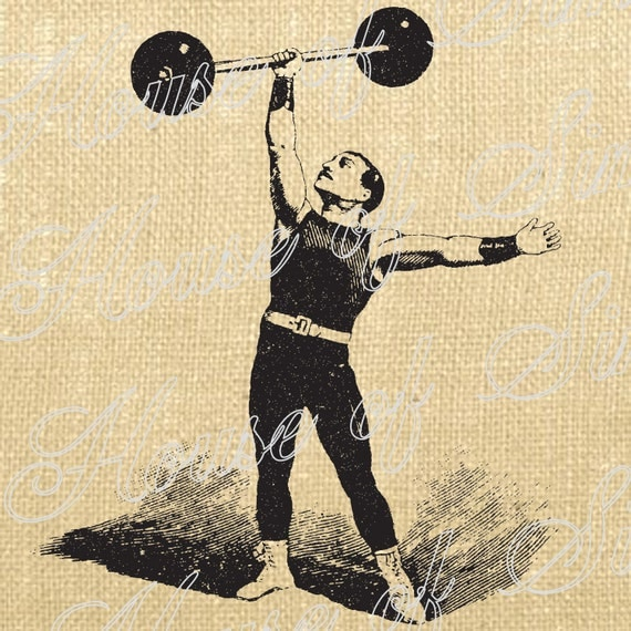 Circus Strongman Weightlifter Man Vaudeville French Download Graphic Image Transfer burlap tote towels Pillow Gift Tag Digital Sheet 1051