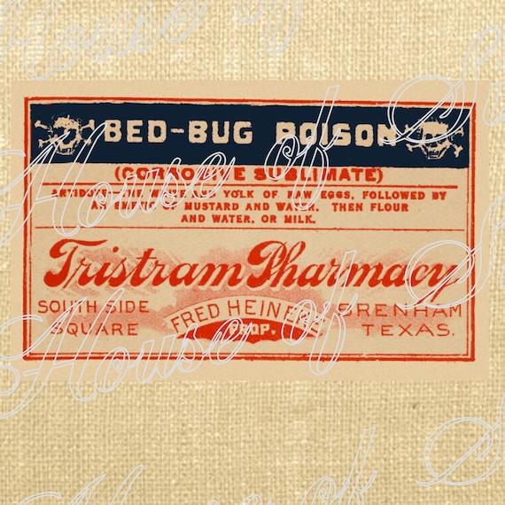 Halloween Poison Label Vintage Download Graphic Image Art Jpeg Transfer burlap tote tea towels Pillow Gift Tag Digital Sheet 1087