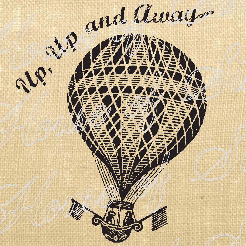 Hot Air Balloon Paris Flag Vintage Download Graphic Image Art