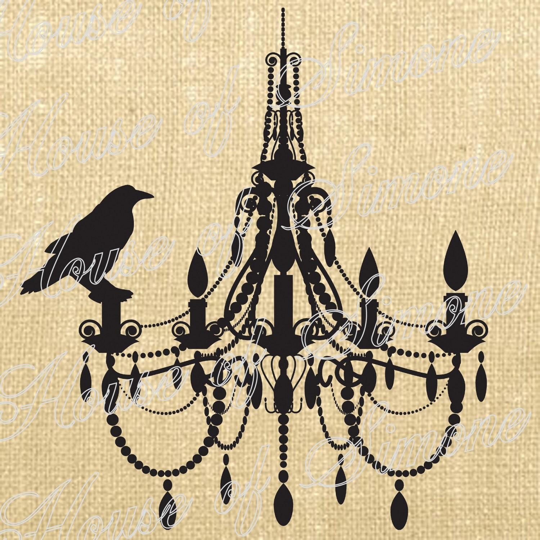 Halloween Chandelier Crow Bird Vintage Download Graphic Image