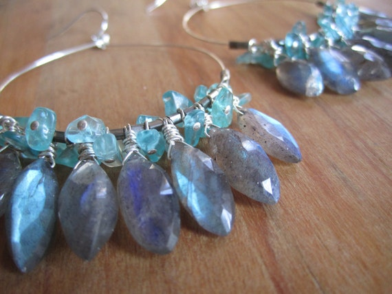 Morning Glory . Faceted Labradorite and Apatite Hoop Earrings