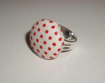"""Darling Vintage Fabric Ring - White with Tiny Red Polka-Dots - 3/4"""""""