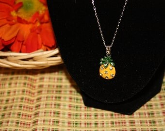Sale- Women's Unique Yellow Enamel Pineapple & Swarovski Crystals w/ Sterling (925) Cable or Box Chain Necklace- Birthday Gift Her Mom Mum